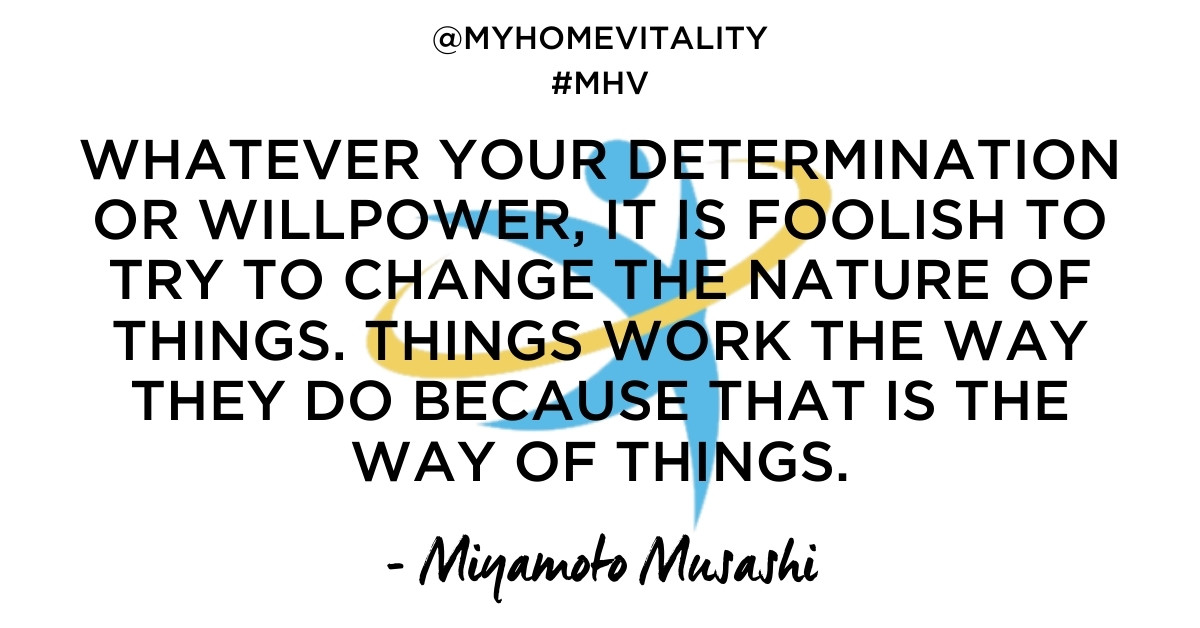 Whatever your determination or willpower, it is foolish to try to change the nature of things. Things work the way they do BECAUSE that is the way of things | Miyamoto Musashi Quote | My Home Vitality